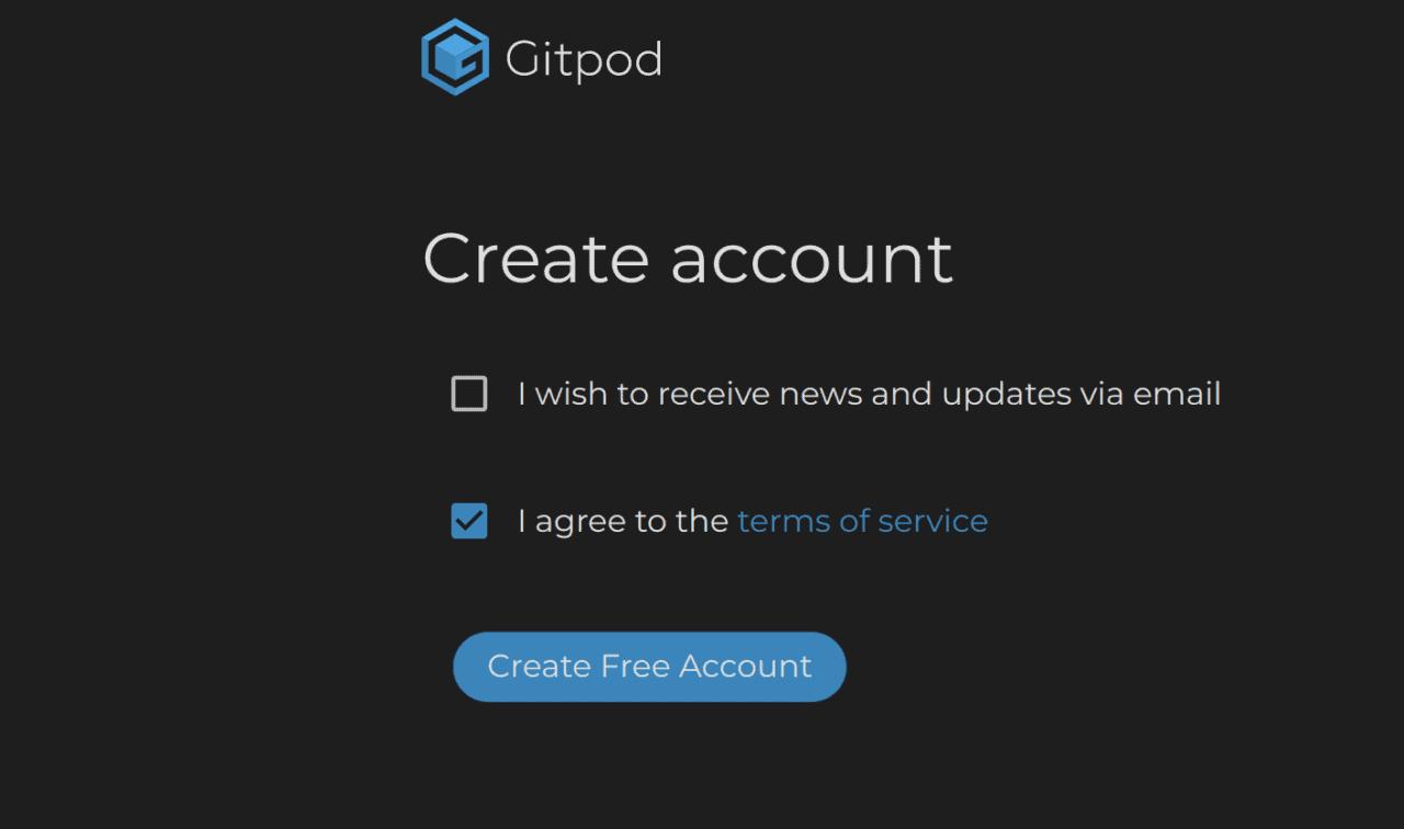GitPod Create Account