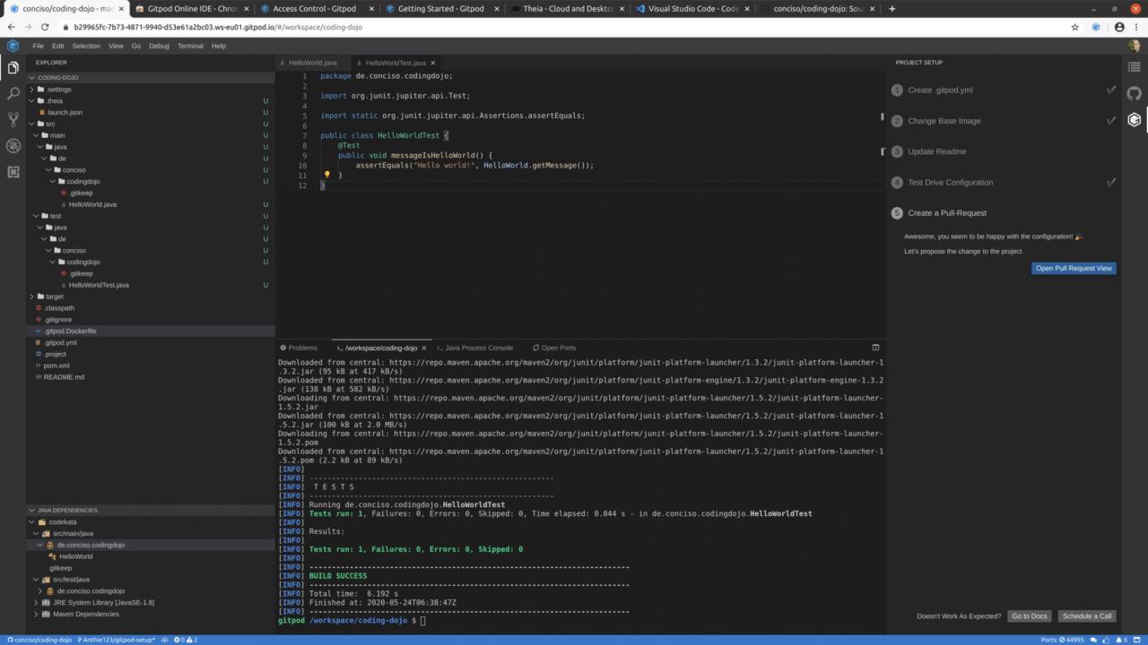 GitPod main screen