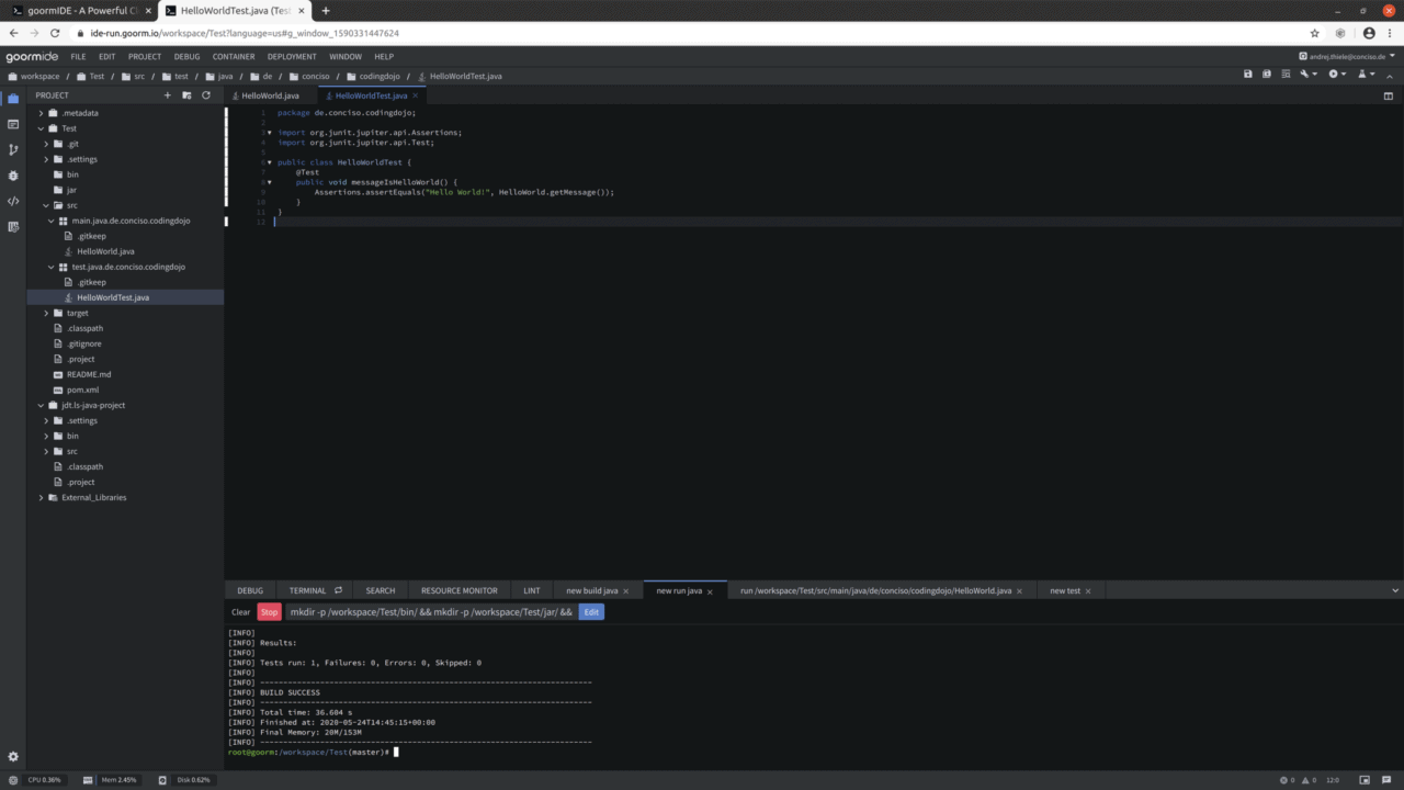 Goorm IDE Screen